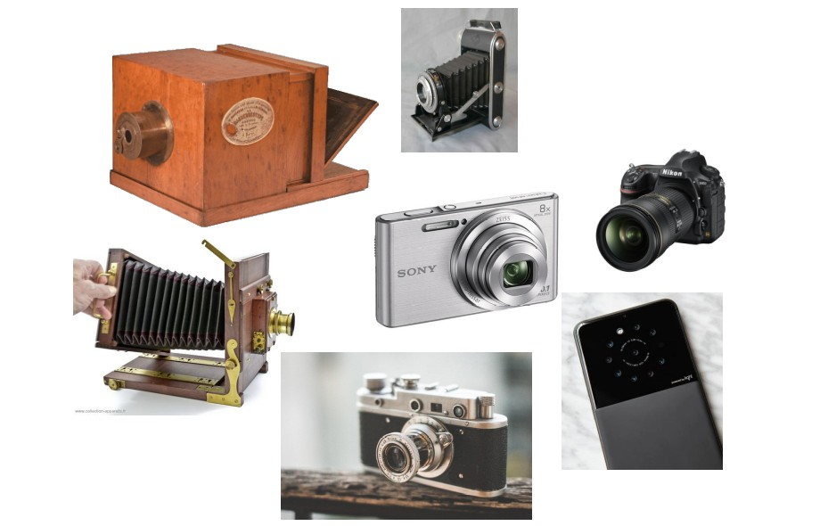 Différentes générations d'appareils photographiques depuis le daguerréotype jusqu'au smartphone