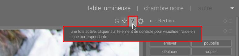 Copie d'écran de darktable montrant le bouton de l'aide contextuelle
