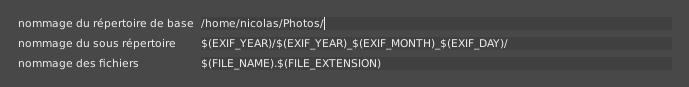 Destination automatique des photos lors de l'importation