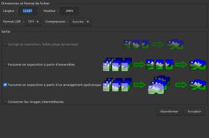 Fenêtre de création du panorama (format et mode de fusion)