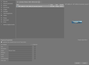 Fenêtre d'importation d'une image individuelle